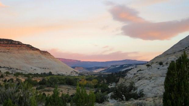 Valley near camp at sunrise, Burr Trail, Grand Staircase-Escalante National Monument, Utah