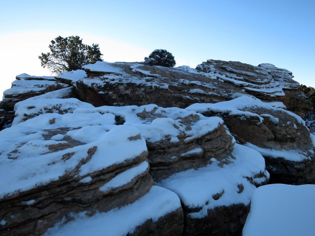 Snow on the rocks near Spider Rock, Canyon de Chelly National Monument, Arizona