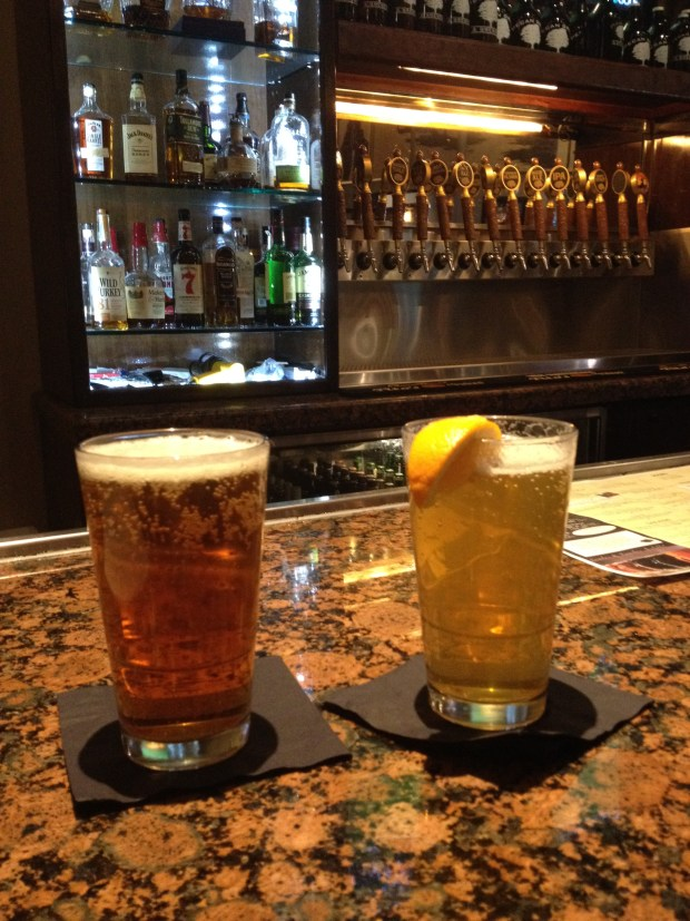 My pale ale and Tom's hefewizen at Pecan Grill and Brewery, Las Cruces, New Mexico