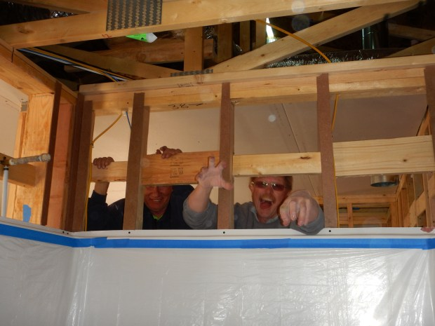 Tom and Construction Supervisor Pete having fun drywalling, Mesilla Valley Habitat for Humanity, Las Cruces, New Mexico