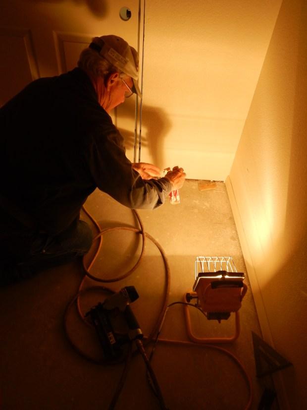 Tony and I installing closet doors, Mesilla Valley Habitat for Humanity, Las Cruces, New Mexico