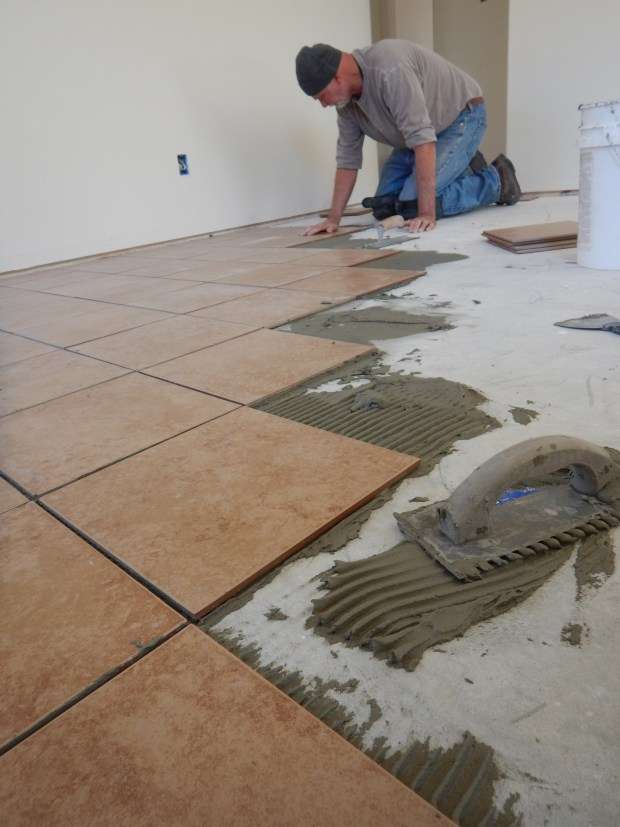 Hans on our first day tiling, Mesilla Valley Habitat for Humanity, Las Cruces, New Mexico
