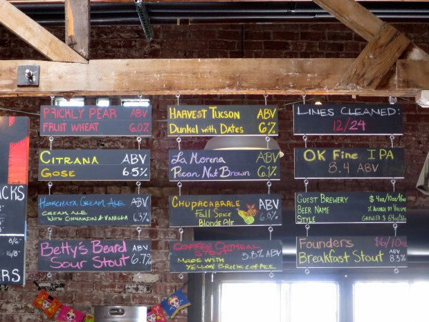 On tap at Borderlands Brewing Company, Tucson, Arizona