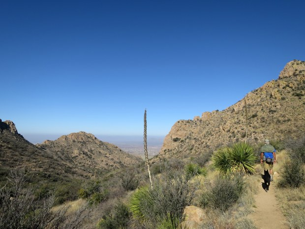 Tom and Abby on the trail, Baylor Pass Trail, Organ Mountain-Desert Peaks National Monument, New Mexico
