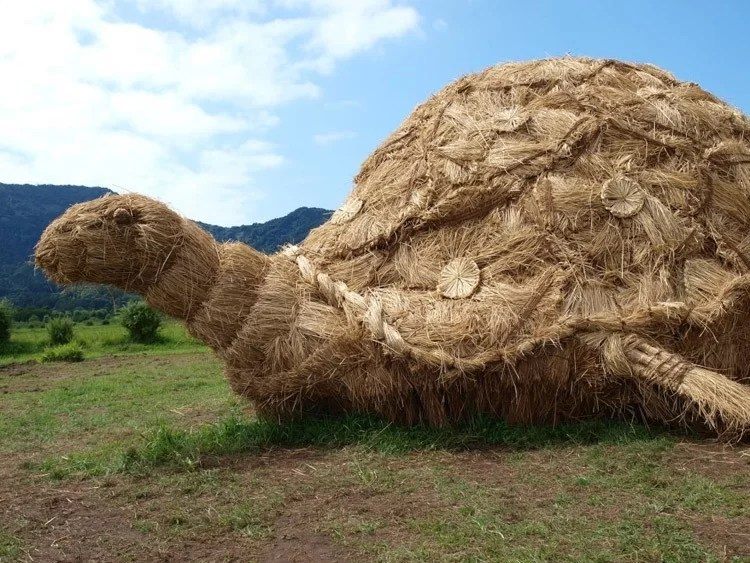 Japanese-straw-sculptures-turtle