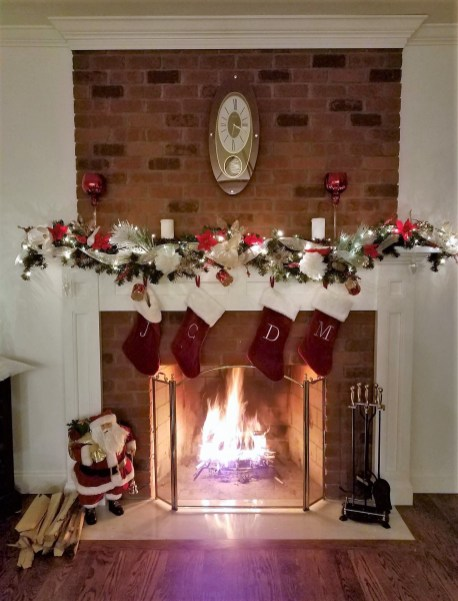 Fireplace - decorated for Christmas