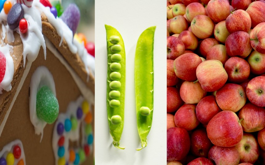 Food in Fairytales. 3 Images. First image is gingerbread house decorated with white icing and sweets. The middle image is peas in a pod. The third image is collection of red and green apples.