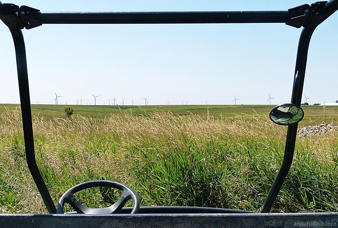 Wind turbines on prairie horizon, Minnesota.