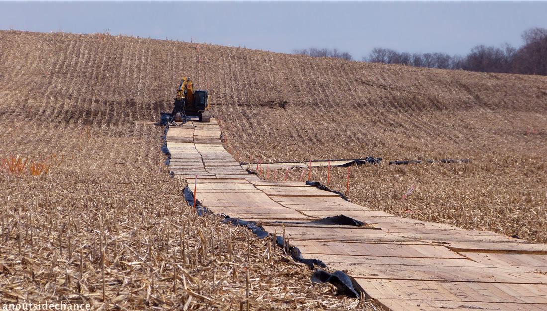 Preparing for test digs along Line 9B pipeline