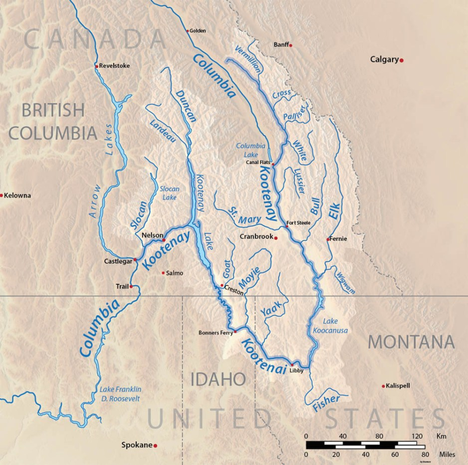Relief map of Kootenay River system