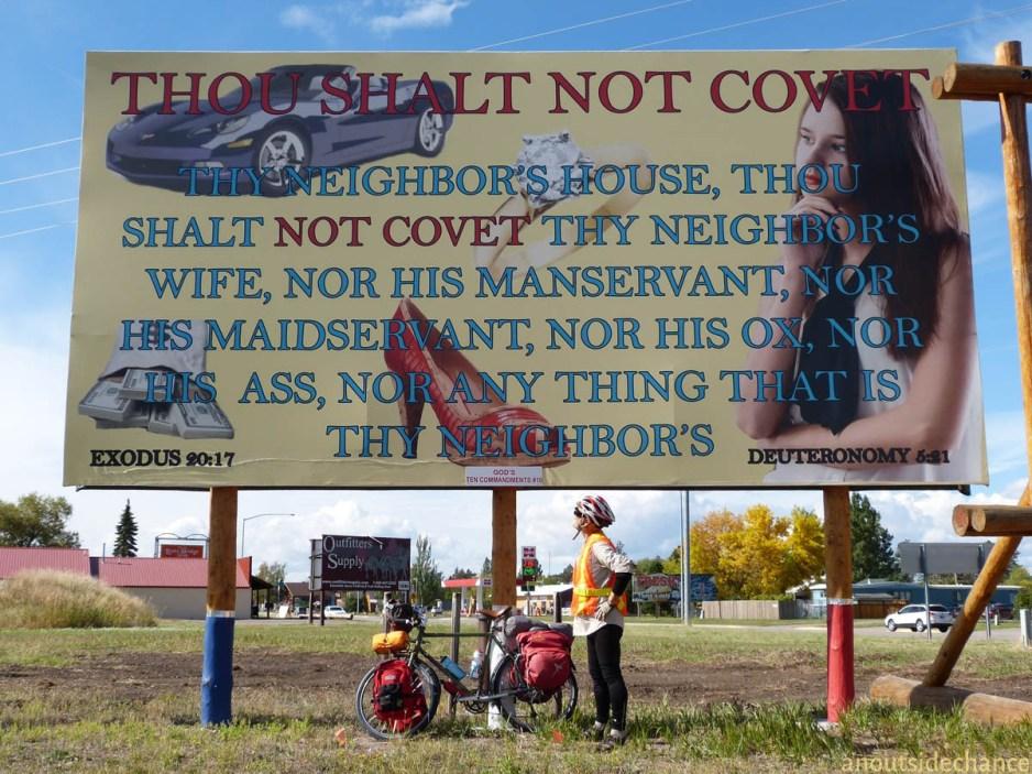 "Illustrated ""thou shalt not covet"" commandment billboard."