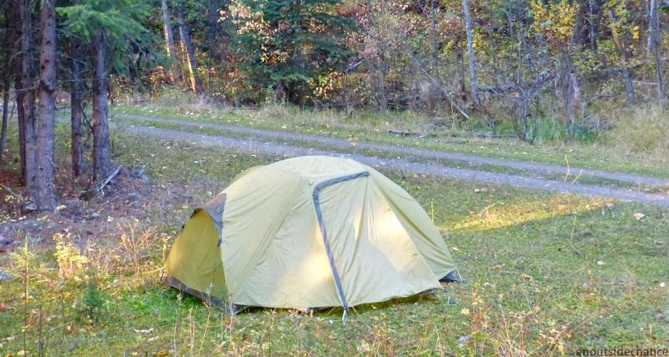 Campsite along Kettle Valley Rail Trail north of Carmi.