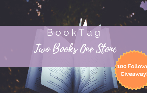 100 Follower giveaway + Two books one stone book tag image