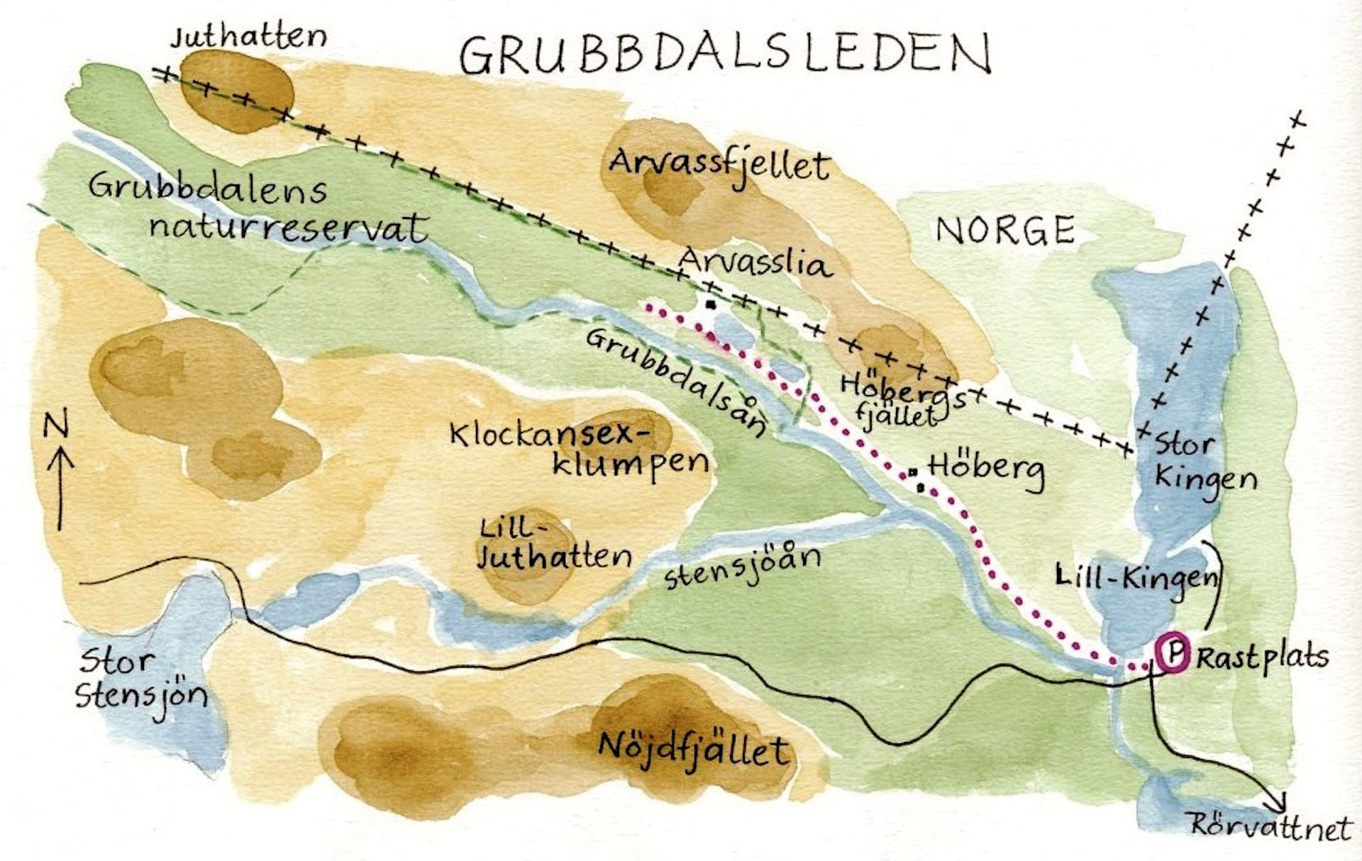 Grubbdalsleden ledkarta. Illustration Rut Magnusson.