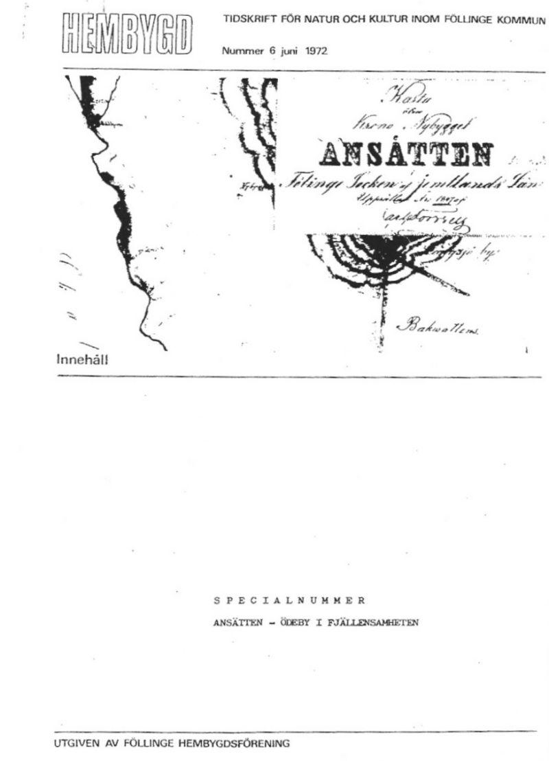 """Omslag på skriften """"Ansätten - Ödeby i Fjällensamheten"""" av Föllinge Hembygdsförening."""