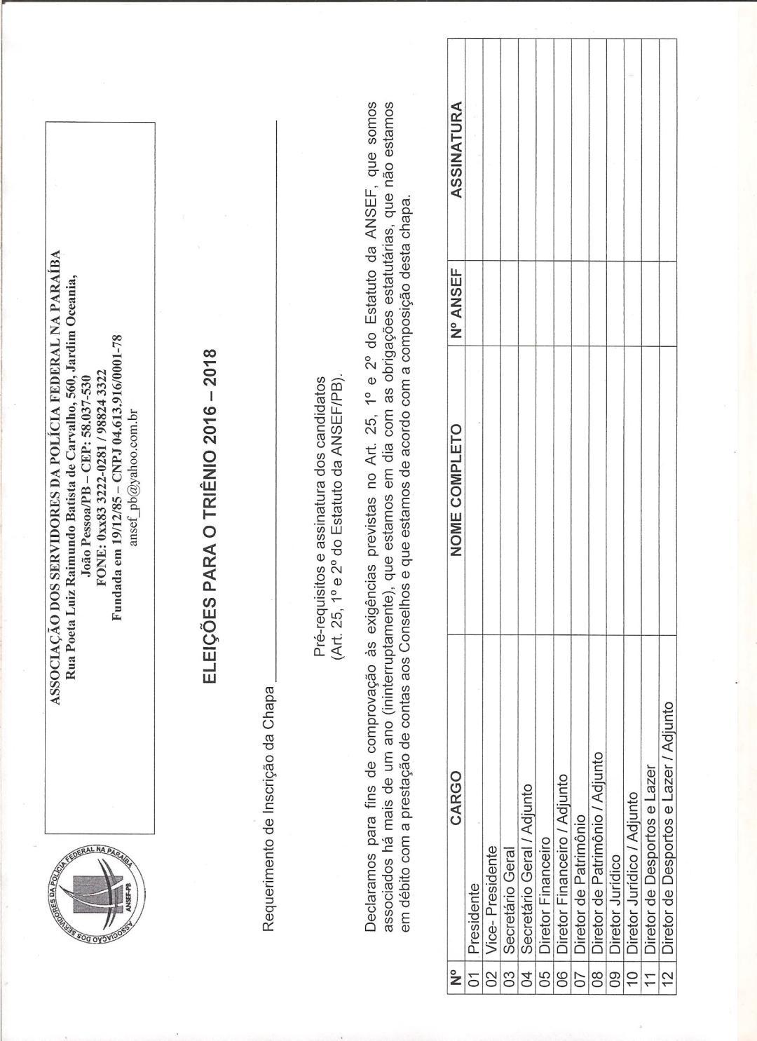 Requerimento de inscrição da chapa 001