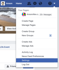access facebook settings