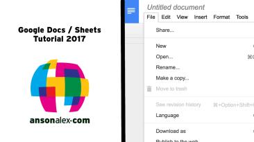 Google Docs and Sheets Tutorial 2017