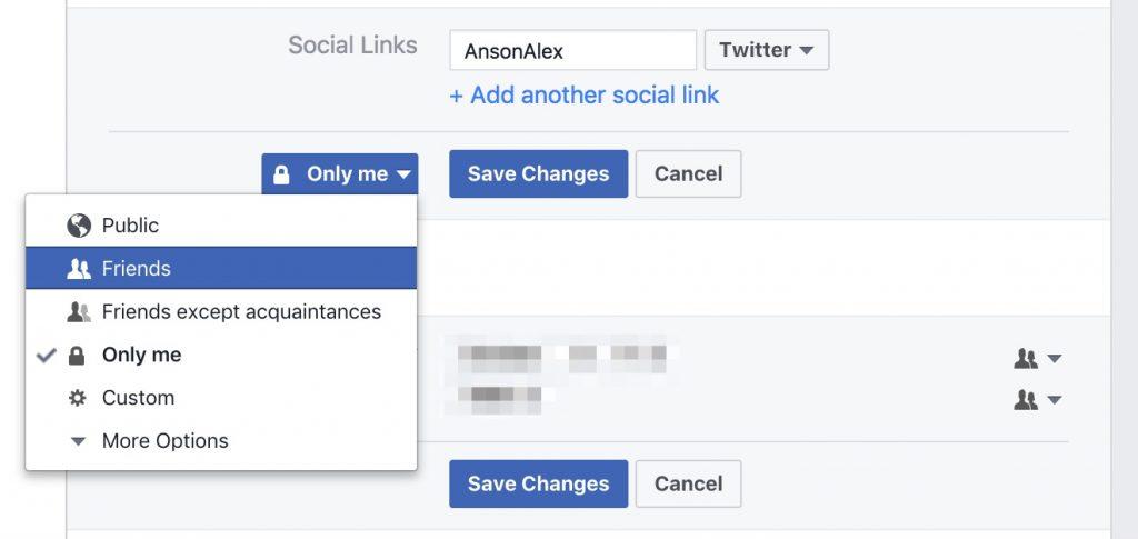 Hide Personal Information Facebook