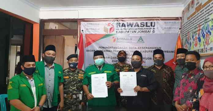 Ansor Jombang Teken MOU dengan Bawaslu Jombang, Kampanyekan Politik Sehat