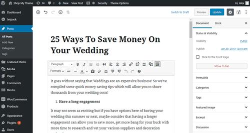 Wordpress admin editor