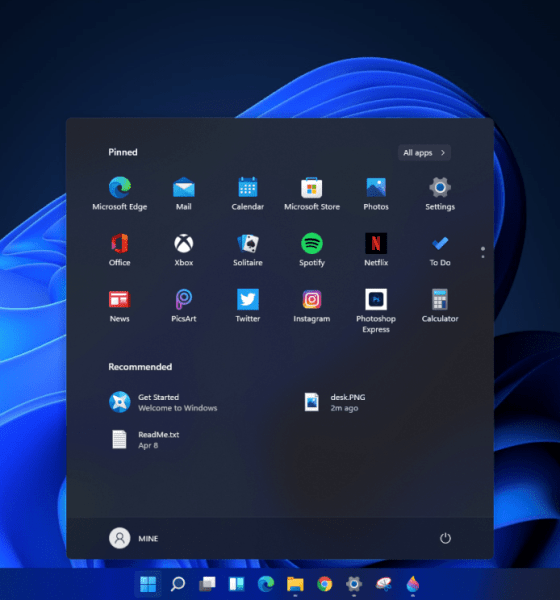 Microsoft Windows 11 start menu