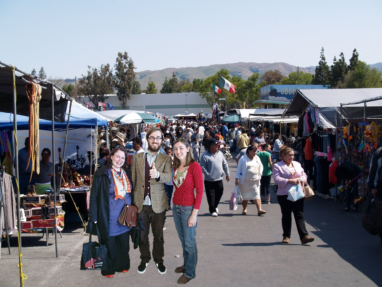 Alison, Helen and Martin: fun times at the San Jose flea market