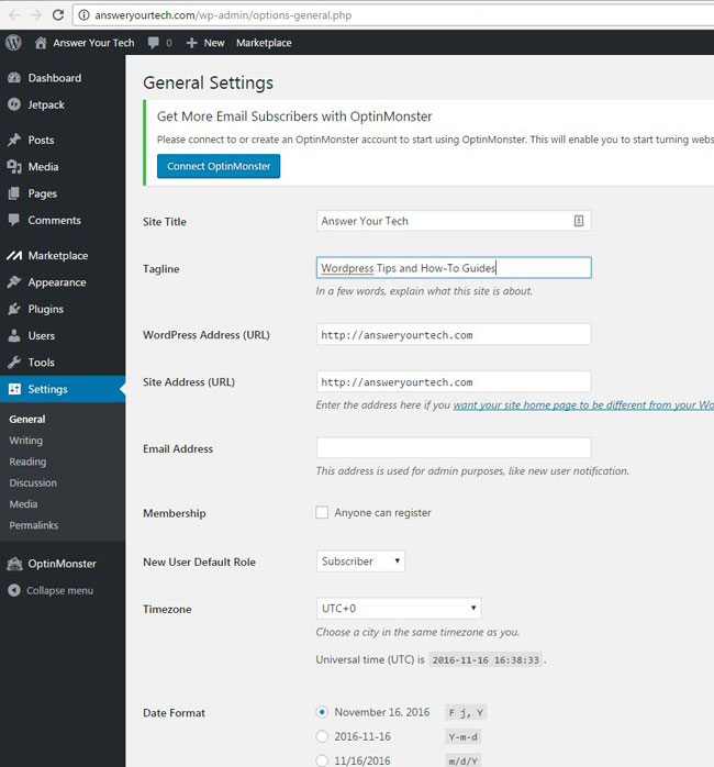 how to change general settings in wordpress 4.6.1