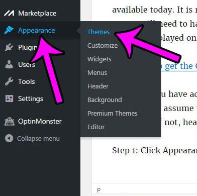 click appearance, then click themes