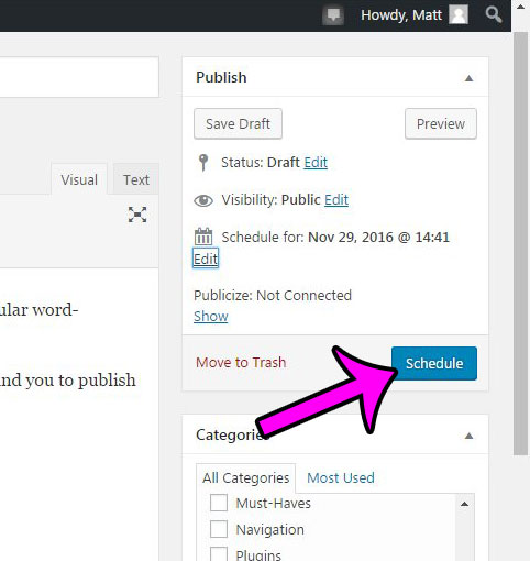 click the schedule button to schedule your wordpress post