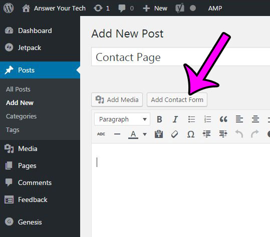 click the Add Contact Form button