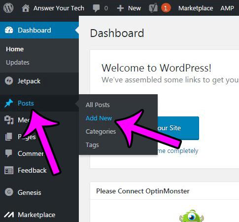 click posts, then select a post