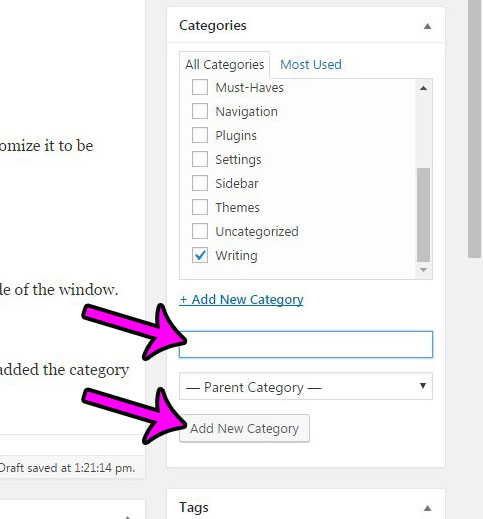 creating a new category from the post editor in wordpress