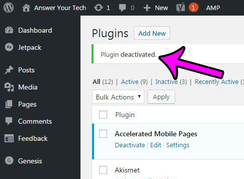 how to deactivate a plugin in WordPress