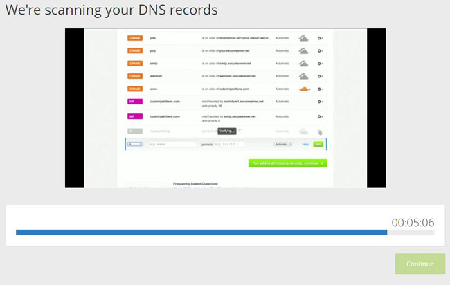 wait for cloudflare to find your dns settings