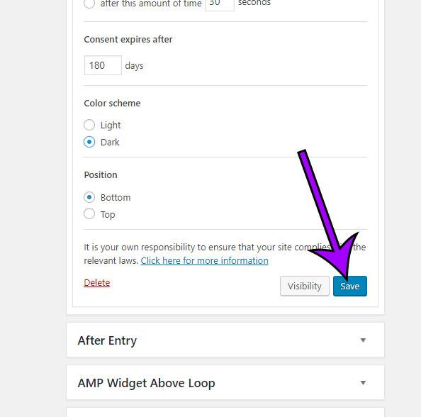 save the widget setings