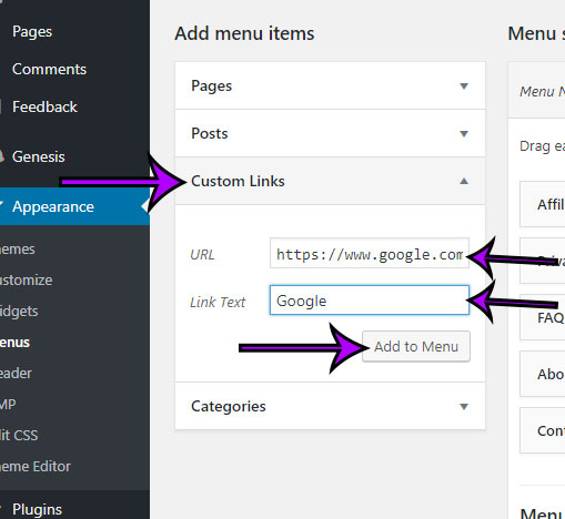 how to add link to external site to wordpress menu