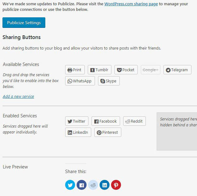 how to add or remove sharing buttons in wordpress