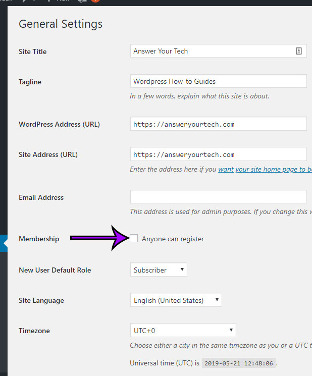 how to enable or disable user registration in wordpress