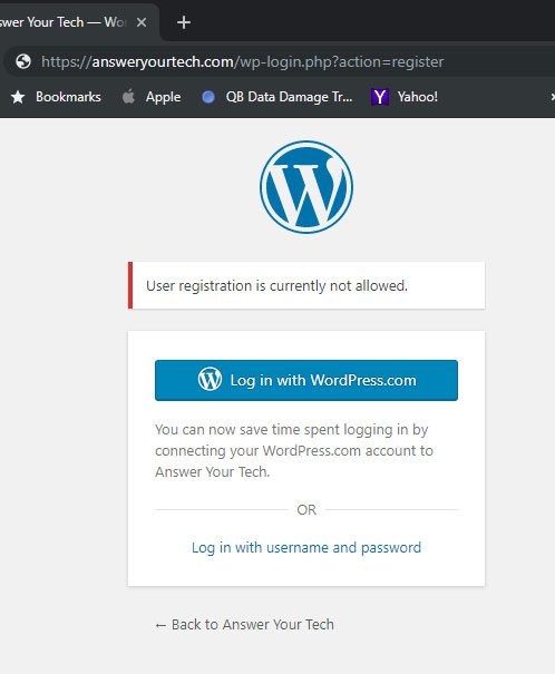 what it looks like when user registration is disabled in wordpress