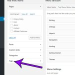 how to add a tag to a menu in wordpress