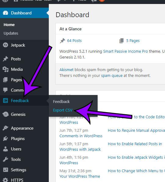 click feedback tab, then click export csv