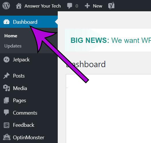 select the Dashboard tab