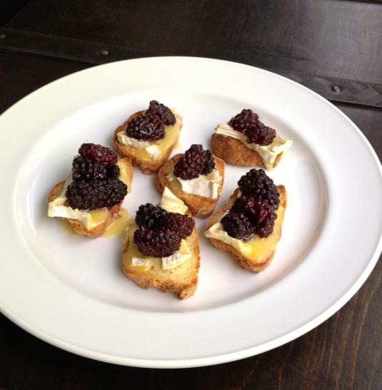 roasted blackberry and brie crostini