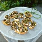 garlic scape mushroom crostini
