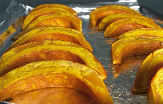 roasted red kuri squash for coconut curry soup