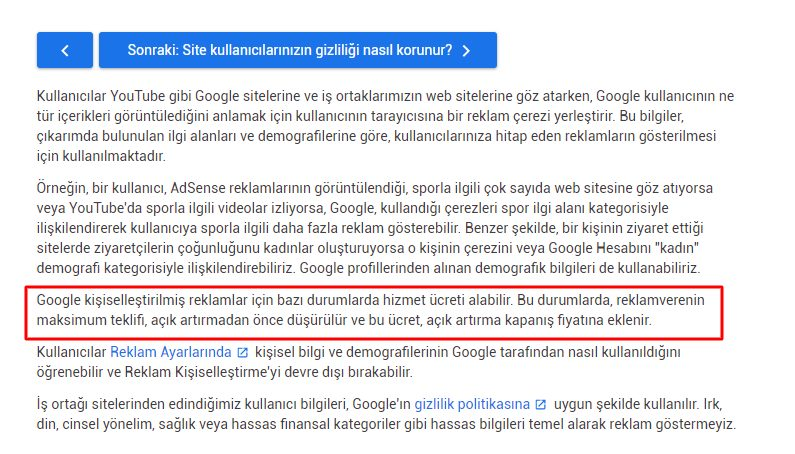 google kisisellestirilmis reklamlar