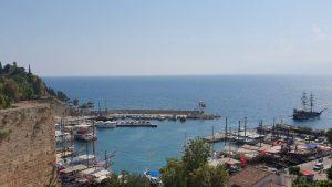 Tophane Çay Bahçesinden Yat Limanı Kaleiçi Deniz Manzarası Antalya