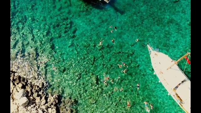 Kaş Tekne Turları Drone ile havadan görüntüsü Kekova-Kale-  Üçağız- Kaş-Antalya