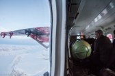 Looking out - the green tank is fule of extra fuel for the long flight.